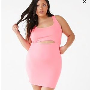 1X Neon pink fitted cutout dress F21